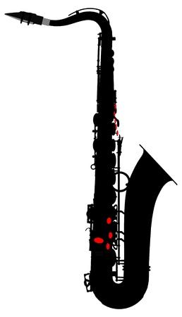 saxofon: vector de saxofón silueta de contorno Vectores