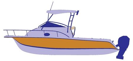 speed boat: barco yate barco vector silueta esquema Vectores