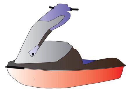 moto acuatica: de esquí de chorro de agua del deporte vector silueta esquema Vectores
