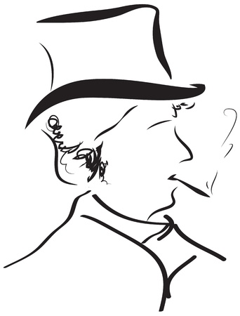gentleman retro outline portrait silhouette for wall tattoo