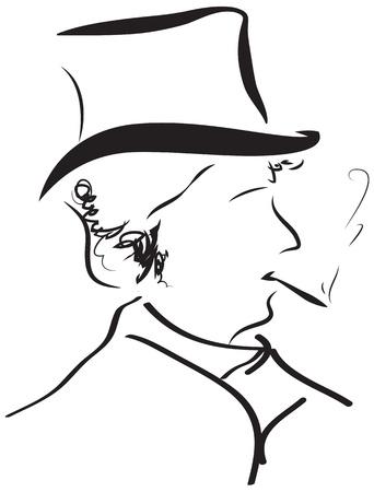 nobleman: gentleman retro ritratto silhouette contorno a parete tatuaggio Vettoriali