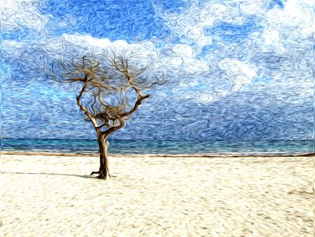 tree on the beach with oil effect