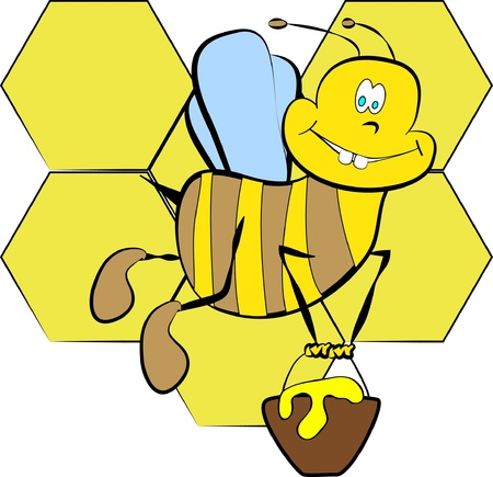 color page bee with honey cartoon paint Vector