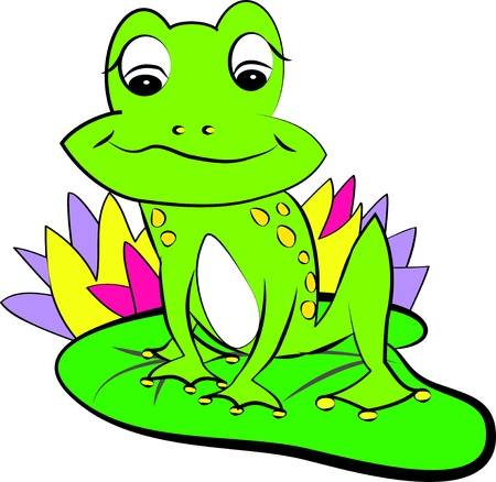 color page frog on the water-lily Stock Vector - 14367807