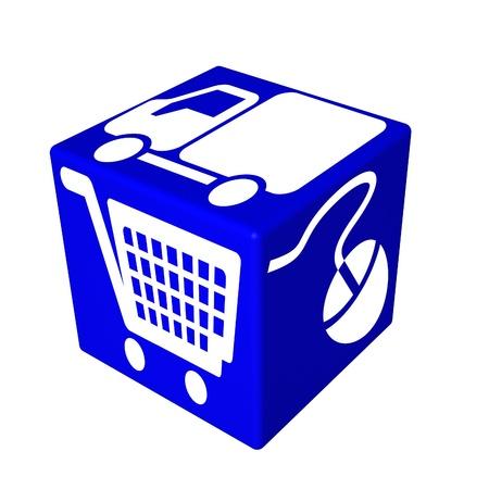 3d blue cube box web Stock Photo