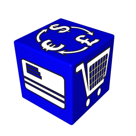 arobas: 3d blue cube box web Stock Photo
