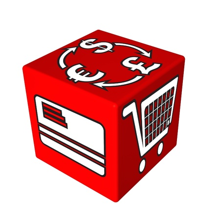 3d red cube box web Stock Photo