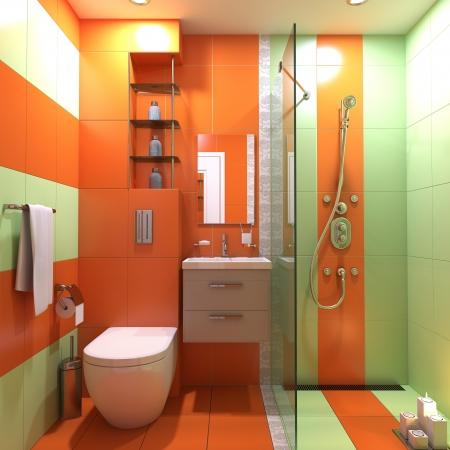 bad fliesen: Badezimmer 3d WC Innenszene