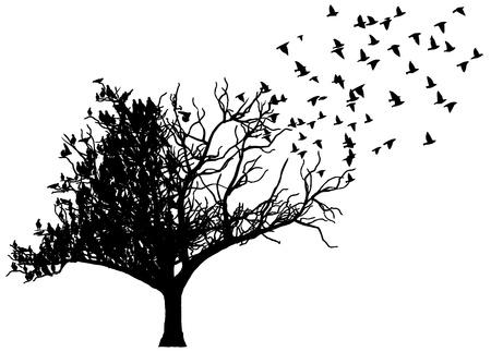 silhouette arbre hiver: oiseaux arbre art