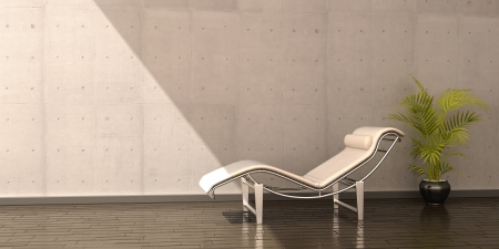 relax chair white leather flower interior scene Stock Photo