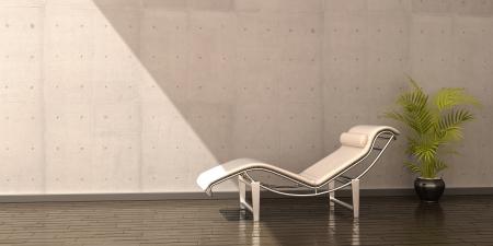 Relaxsessel weißem Leder flower interior Szene Standard-Bild - 15046616