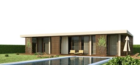 garden wall: modern house Stock Photo