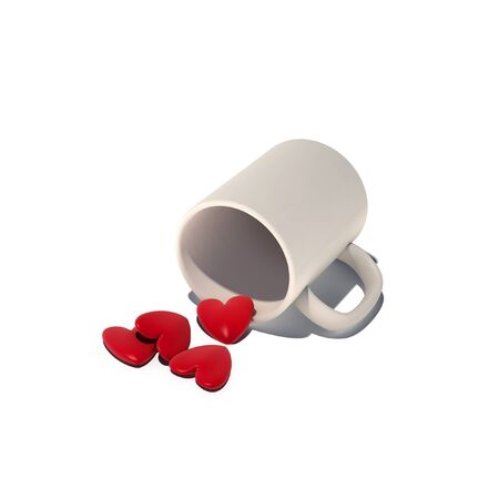 love hurts: hearts in cup illustration Stock Photo