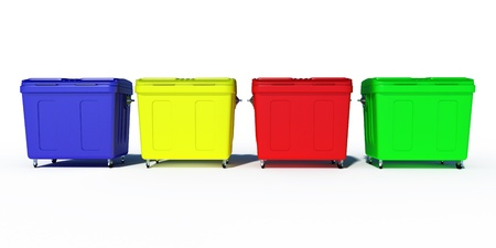 utilize: colored trash recycling bins illustration Stock Photo