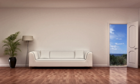 interior scene with open door