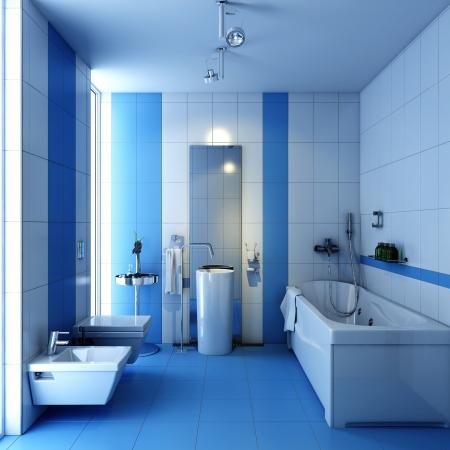 salle de bains: salle d'eau wc avec lave-baignoire Banque d'images