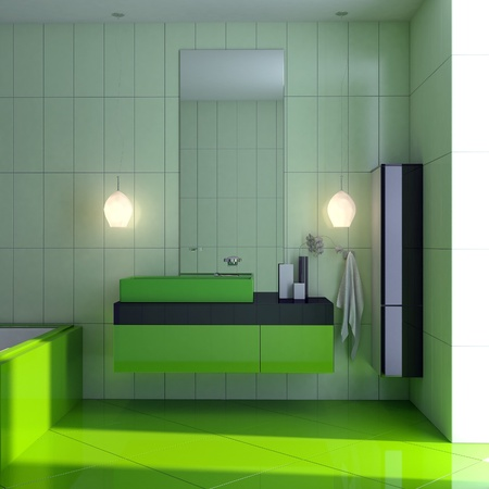 green bathroom Stock Photo - 16063490