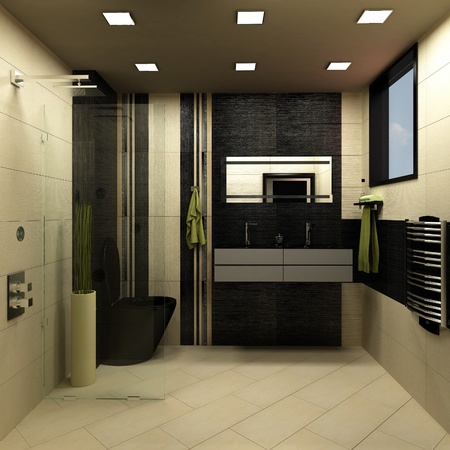 bathroom black design photo