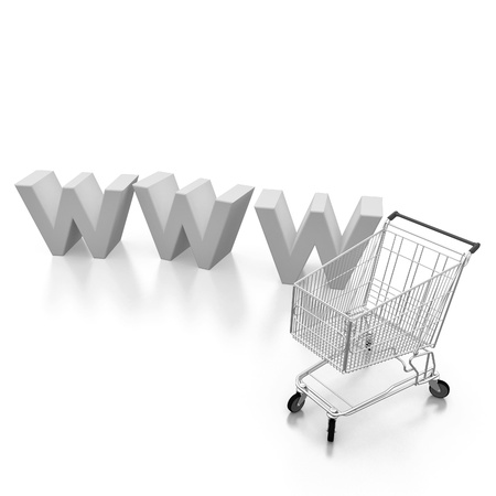 comerce: internet shopping cart concept