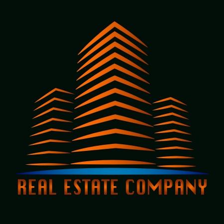 logo batiment: logo réel de construction immobilière
