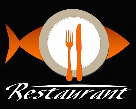 logo poisson: restaurant de poissons Illustration