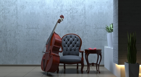 double bass interior romantic scene