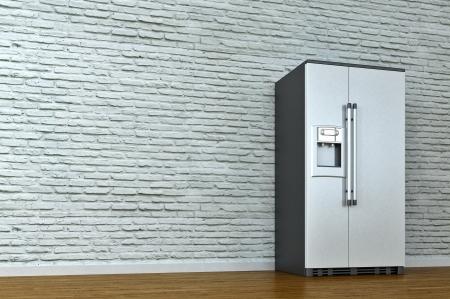 renders: interior scene with refrigerator Stock Photo