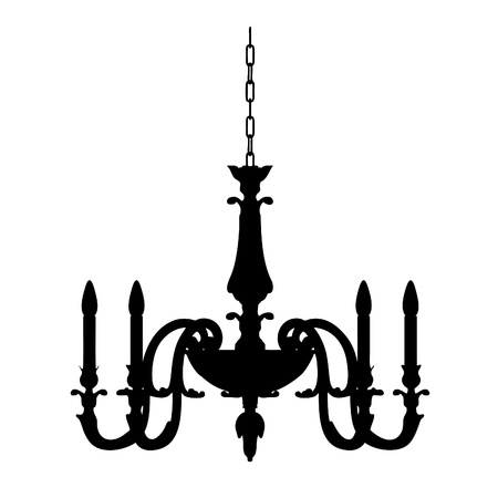 chandelier lamp outline    Vector