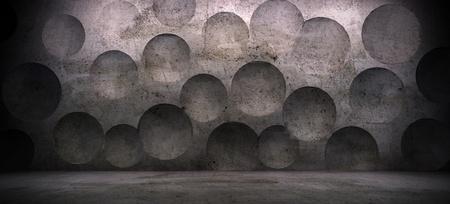 Innenraum-Szene mit Betonwand und Kugel-Effekt Standard-Bild - 17513852