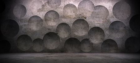 interior scene with concrete wall and sphere effect  Imagens