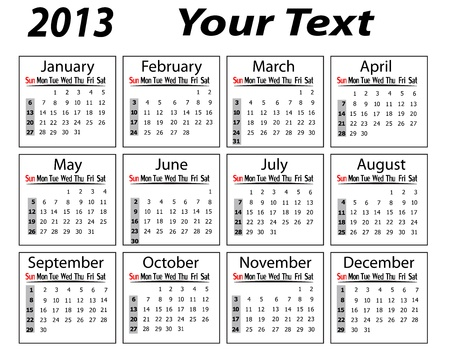 landscape calendar 2013 vector illustration Vector