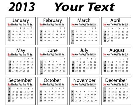 landscape calendar 2013 vector illustration Stock Vector - 19421317