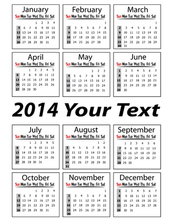 portrait calendar 2014 vector illustration