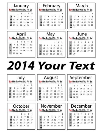 weekly planner: portrait calendar 2014 vector illustration