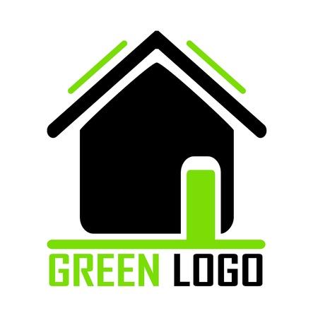 casa logo: casa verde illustrazione logo Vettoriali