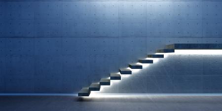Innenszene mit Treppe und Beleuchtung Standard-Bild - 24713886