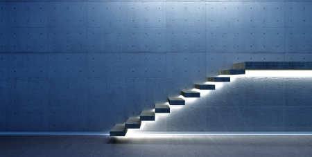 concrete stairs: Interior scene with stair and lights
