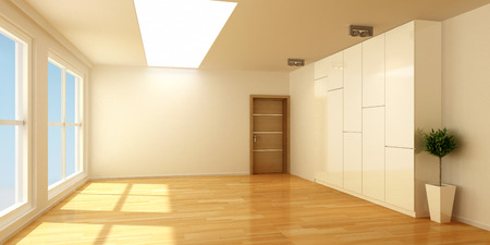 3D empty interior room with wood floor and windows photo