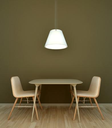 Interiér scéna stůl se židlemi Reklamní fotografie