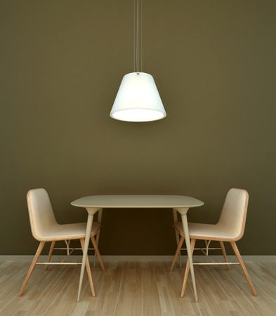 Interior scene table with chairs