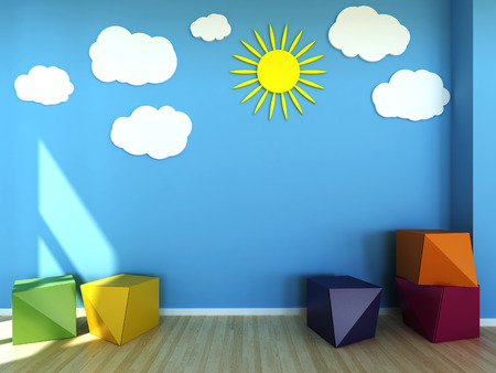 painted wall: Kids room interior scene Stock Photo