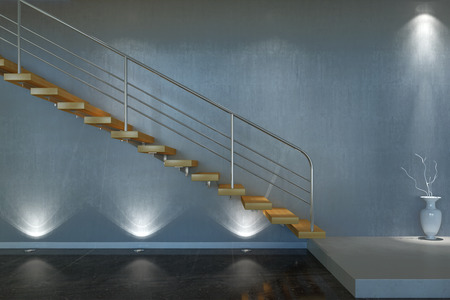 Moder stair from wood and metal
