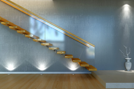 Modern stair from wood and glass Stock Photo