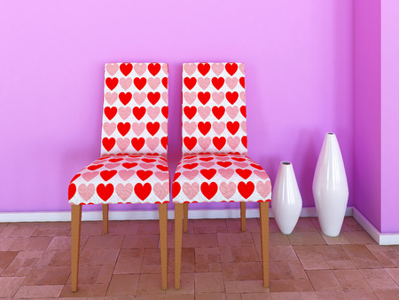 Chairs with hearts photo