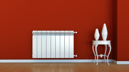 home heating: Interior scene with radiator Stock Photo
