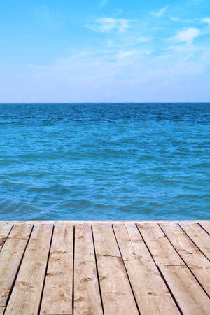 seaview: Seaview panorama from old wooden deck Stock Photo
