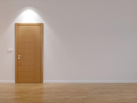 現代のドアと寄せ木張りの床と空の部屋 写真素材