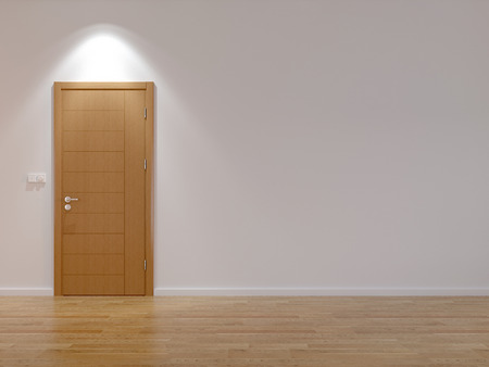 door: Empty room with modern door and floor from parquet