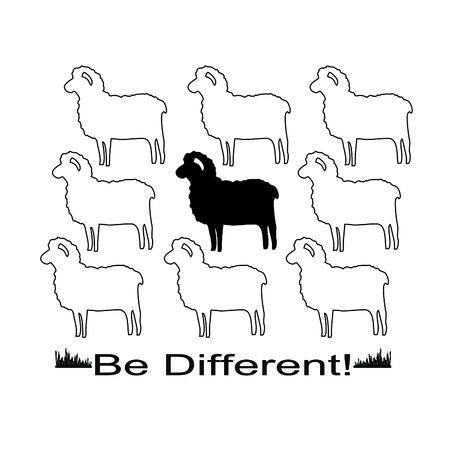 etre diff�rent: Moutons dans des formats vectoriels pour la conception T-shirt avec le slogan �tre diff�rent! Illustration