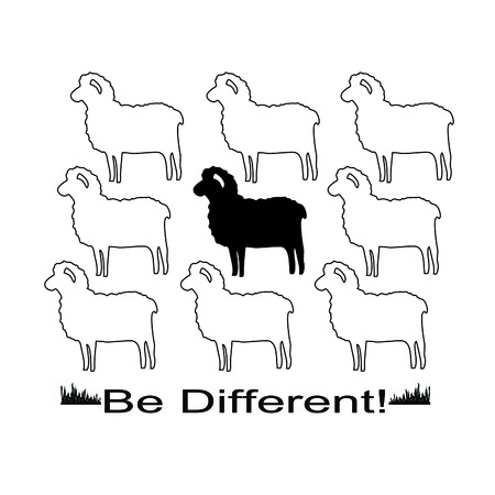 ferm: Sheeps in vector formats for T-shirt design with slogan Be Different!
